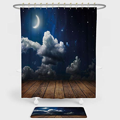 iPrint Night Sky Shower Curtain Floor Mat Combination Set Dots Liked Star Moon Crescent Foggy Clouds Wooden Seem Deck Image decoration daily use Brown White Dark Blue (Sky Neo Angle Night)