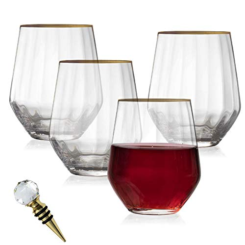 24K Gold-Rimmed Stemless 15.5 Oz. Wine Glasses – Set of 4 – Lead-Free Crystal Glassware + Stopper for Red or White Wine…