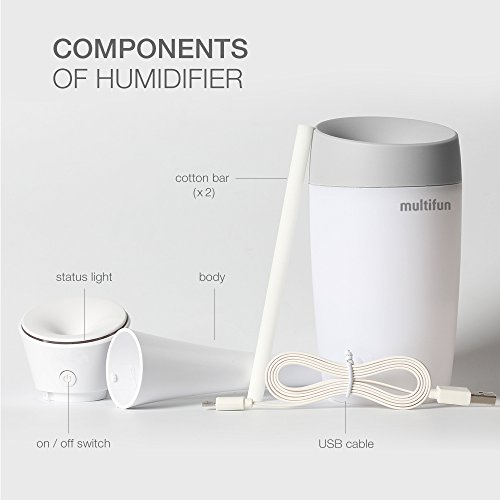 USB Humidifier, multifun Portable Mini Humidifier, Car Humidifier with Auto Shut-off, Multi Use for Travel Office Desk Desktop Car Small Baby Bedroom with Water Bottle by multifun (Image #4)