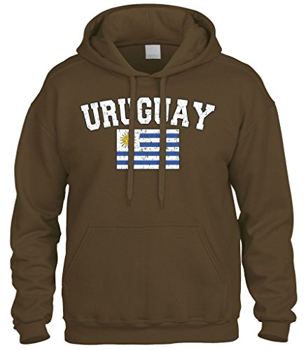 - Cybertela Faded Distressed Uruguay Flag Sweatshirt Hoodie Hoody (Brown, X-Large)