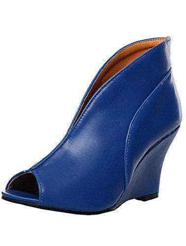 Enmayer Womens Pu Romeinse Stijl Wiggen Peep Toe Pumps Blauw