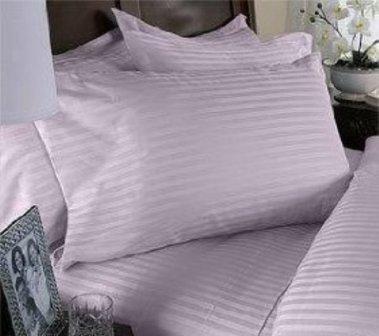 TEMPTATION Egyptian Cotton 400TC 4Pcs Sateen Stripe Comforter(White) Duver cover Set F/Queen Lavender. ()