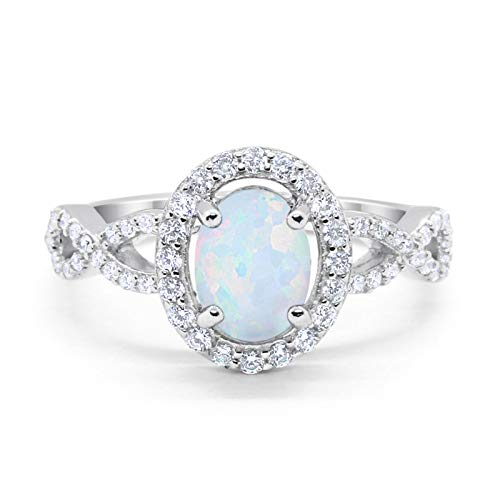 Blue Apple Co. Infinity Art Deco Halo Wedding Engagement Bridal Ring Oval Created White Opal Round Cubic Zirconia Solid 925 Sterling Silver, Size-7