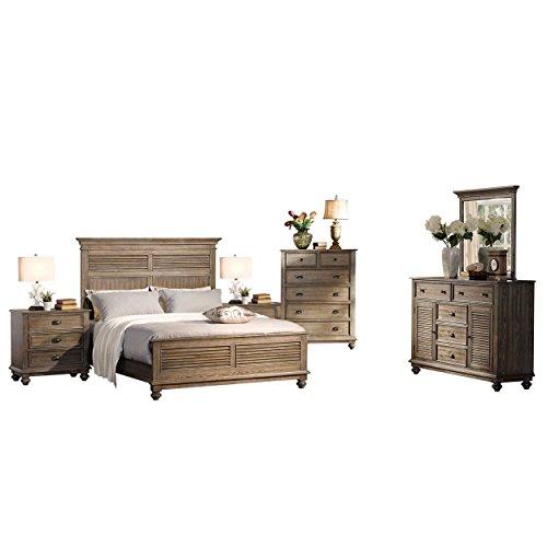 Ladella 6 Piece Rustic Tropical Shutter Panel Queen Bed, 2 Nightstand, Dresser & Mirror, Chest in Natural Driftwood (Queen Shutter)