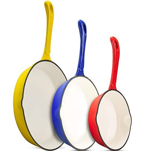 Klee Enameled Cast Iron Skillet with Pour Spout (Set of 3) 7-inch, 8.5-inch, 10-inch