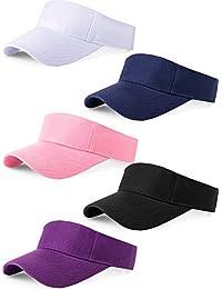 70989f77 5 Pieces Sport Wear Athletic Visor Sun Visor Adjustable Cap Men Women Sun  Sports Visor Hat