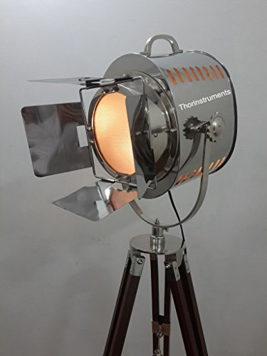 Vintage Movie Stage Search Focus Spot Light With Wooden Brown Tripod Stand by THORINSTRUMENTS