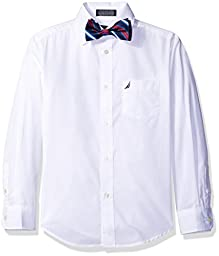 Nautica Boys\' Long Sleeve Shirt and with Bow Tie, White, 8