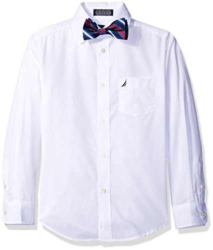 Nautica Boys' Long Sleeve Shirt and with Bow Tie, White, (Nautica White Shirt)