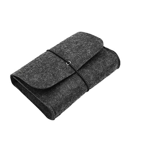 Moligh doll Wool Fiber Power Bank Storage Bag SOFE Felt Pouch for Data Cable Mouse Travel Organizer Electronic Gadgets Organizador Bag Black from Moligh doll