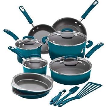 Rachael Ray 15-Piece Hard Enamel Nonstick Cookware Set Marine Blue