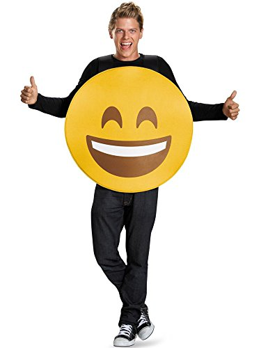 Halloween Face Designs Adults (Disguise Unisex Smile Emoticon Emoji Adult Costume, Yellow, One)