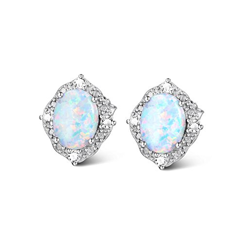 Opal Vintage Earrings - Simulated Opal Earrings Sterling Silver, Halo Earrings, Cubic Zirconia Fire Opal Stud Earring for Women girls (Vintage)