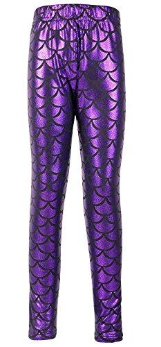 Girl's Full Length Shiny Little Mermaid Fish Scale Print Leggings Pants,Purple,M (Print Leggings Sequin)
