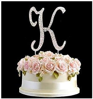 rhinestone silver birthday anniversary cake topper letter k sign symbol pick and crystal diamante decoration