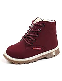 Boys Girls Waterproof PU Leather Insulated Winter Martin Sneaker Snow Boots by Ammazona