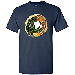 Tiger Dragon Yin Yang Symbol Tanya Ramsey Artworks Art DT Adult T-Shirt Tee (Large, Navy Blue)
