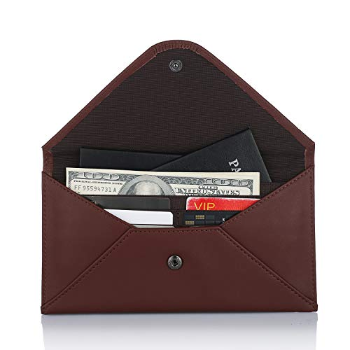 Womens Wallet RFID Ultra Thin Travel Wallet & Passport Wallet Holder Multiple Real Leather Envelope Purse Travel Document Organizer Clutch with ID Card Holder and Zipper Pocket, Warranty 1-Year