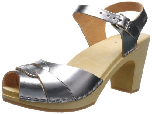 Silver Peeptoe Women's Clogs 432 High Swedish UK Nature Hasbeens Super 8 5XwnqqvE