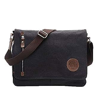 Men's Vintage Canvas Leather Messenger Crossbody Shoulder Bag Satchel for Working Business Hiking Laptop School Travel Rucksack Casual (Black)