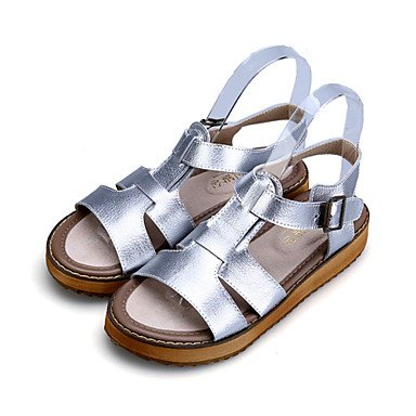 White Casual US5 Heel Leather Silver Sandals Open EU35 Comfort UK3 Women's Slingback Toe Shoes CN34 Flat Dress Black HUcx7nwSqg