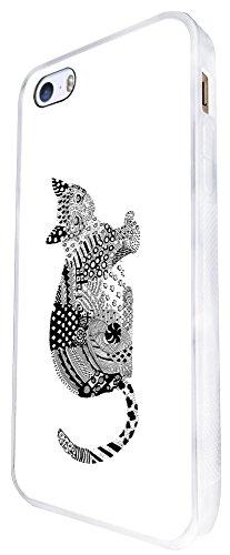 1294 - Cool Fun Trendy Cute Kawaii Cat Kitten Feline Pets Love Animals Design iphone SE - 2016 Coque Fashion Trend Case Coque Protection Cover plastique et métal - Blanc