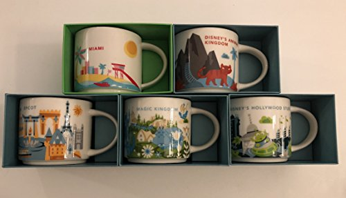 Set of 5: Animal Kingdom+ Magic Kingdom+Epcot+ Disney's Hollywood Studios+ Miami You Are Here YAH 14 Oz. Starbucks Mugs by Starbucks