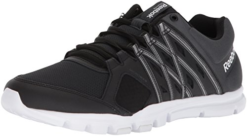 Reebok Men's Yourflex Train 8.0 LMT S Sneaker, Black/Gravel/White, 7.5 M US