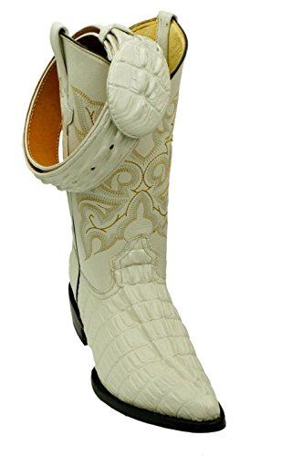 Dona Michi Men genuine cowhide leather crocodile print western j toe boots With Free Belt Beige_10 (Beige Mens Cowboy Boot)