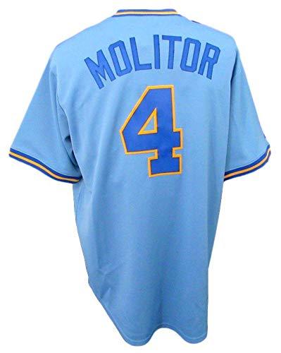 Paul Molitor Unsigned Brewers Blue Majestic Baseball Jersey NWT Size LG -