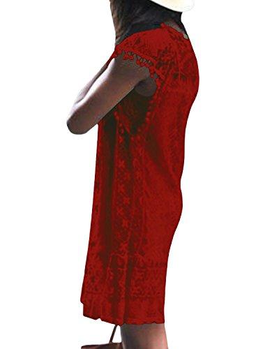 Kleid Rundhals Minikleid T-shirt Ärmellos Damen Rot Spitzekleid Kleider Langes Strandmode Sommerkleid Spitze Yoins