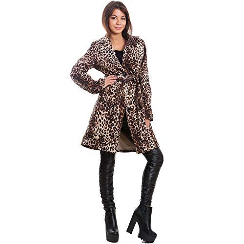 2223 Donna Animalier Cintura Monopetto Toocool Leopardato Giacca Trench Vb Spolverino pxnw7R4q