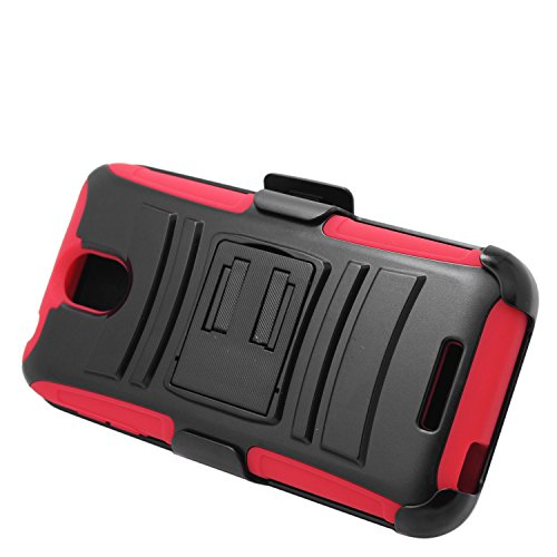 Eagle Cell Hybrid Protective Carrying Case Stand/Belt Clip Holster for HTC Desire 510 - Retail Packaging - Red/Black