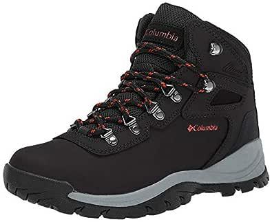 Columbia Women's Newton Ridge Plus Waterproof Hiking Boot, Black/Poppy Red, 5 M US