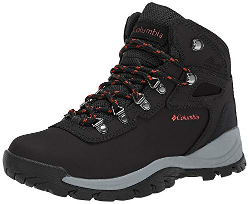 Columbia Women's Newton Ridge Plus Hiking Boot, Black/Poppy Red, 8 Regular US