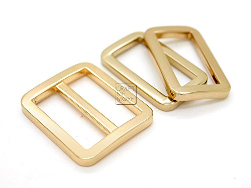 (CRAFTMEmore 1SET GOLD FLAT Metal Purse Slider and Loops 1PC Slide Buckle with 2PCS Rectangular Rings Leather Craft (1)