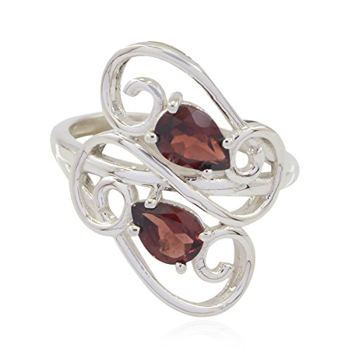 RGPL-Lovely Gemstones Pear Faceted Garnet Ring - Sterling Silver Red Garnet Lovely Gemstones Ring - Now Trending Good Selling Items Gift for Mother Name Ring