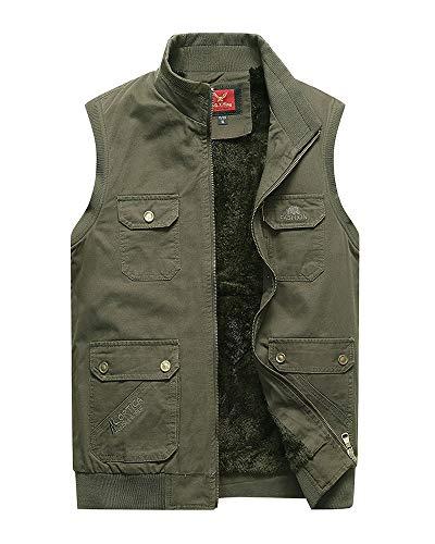 Mens Jeep Vest Velvet Inside Outdoor Multifunctional Pocket Cotton Vest(Deep Green,2XL) ()