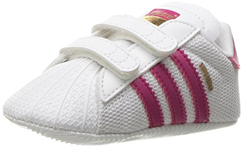 adidas Originals Girls' Superstar Crib Sneaker, White/Bold Pink/White, 3 M US Infant