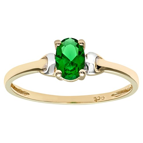 Citerna 9 ct Yellow and White Gold Cubic Zirconia Emerald Birth Stone Ring...