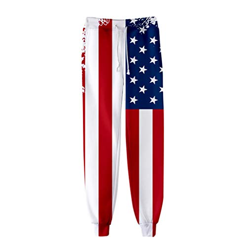 - Women USA American Flag Pant - Patriotic Print Jogger Sport Trouser Baggy Sweatpant with Drawstring Red