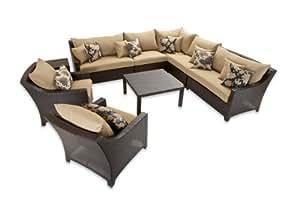 RST Outdoor RST marcas op-pess9-del-k Delano 9piezas Sofá seccional de esquina y Club sillas Set