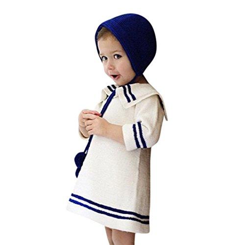 Leegor Girls Sailor Collar Stripe Sweater Knitting Long Sleeve Knee-Length Dress (3T, White)