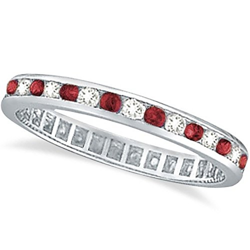 Ruby and Diamond Channel Set Ring Eternity Band 14k White Gold (1.04ctw)