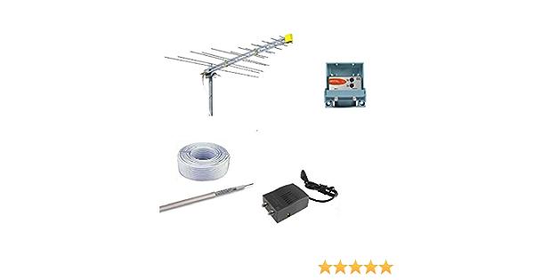 Kit antena digital terrestre DVBT con amplificador HD logarítmica Offel Teleco alimentación, 30 m Cable tv y conectores F
