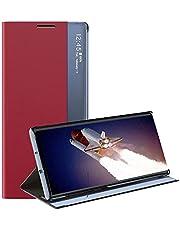 جراب جلدي قلاب لهاتف Samsung Galaxy S20 Ultra / S20Ultra بغطاء داخلي من البولي يوريثان - أحمر