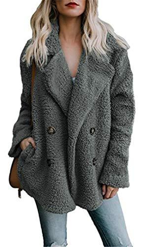 Mystry Zone Warm Winter Coat for Women Faux Shaggy Jacket Lapel Dark Gray M