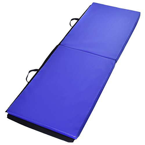 """Exercise Mat Blue 6'x2'x1.5"""" Gymnastics Mat Thick Two Folding Panel Gym Fitness Exercise with Ebook"""