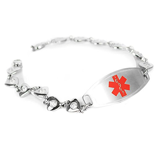 316l Stainless Steel Heart - My Identity Doctor Custom Engraved Medical Bracelet 316L Stainless Steel Hearts, Round 2mm Cubic Zirconia