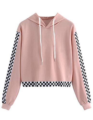 Women's Crop Top Teen Girls Plaid Cropped Hoodie Sweater Jacket Cute Sweatshirt Jumper Pullover Tops Clearance Sale (Pink, ()